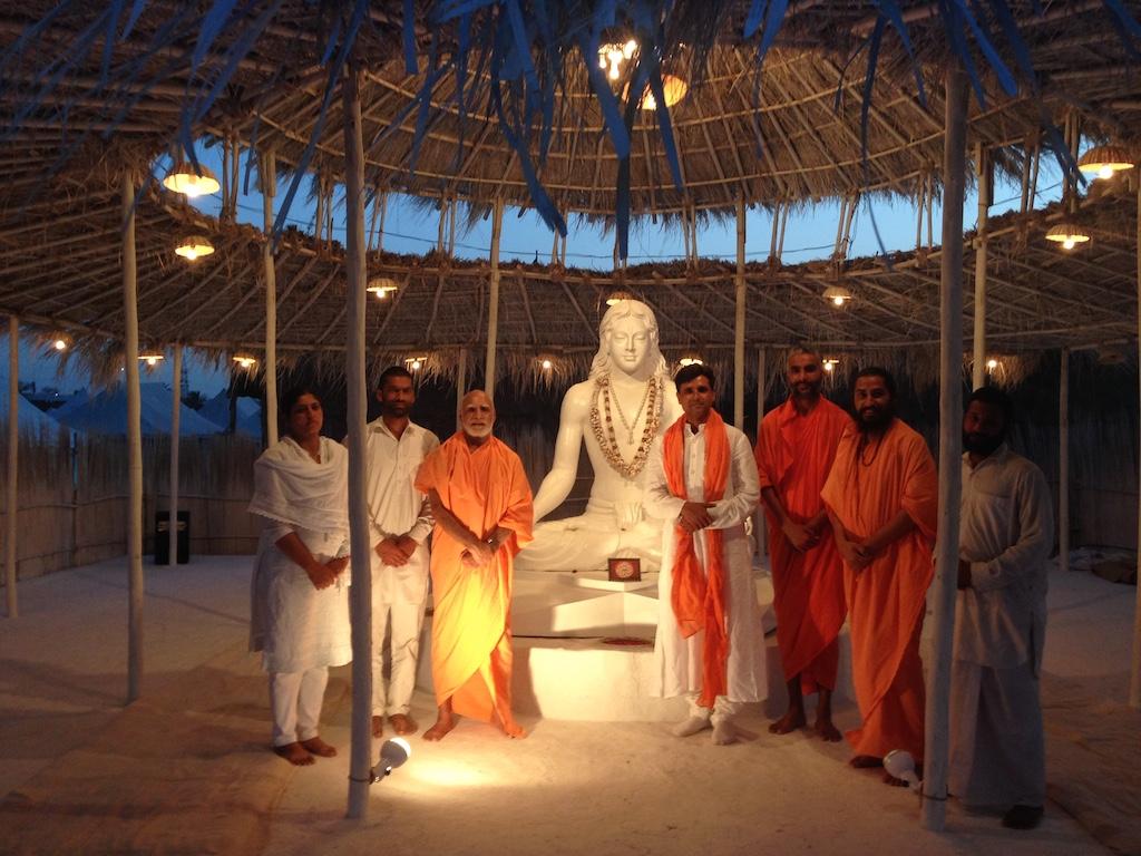 With Sadhus - Pt. Radhesham Mishra