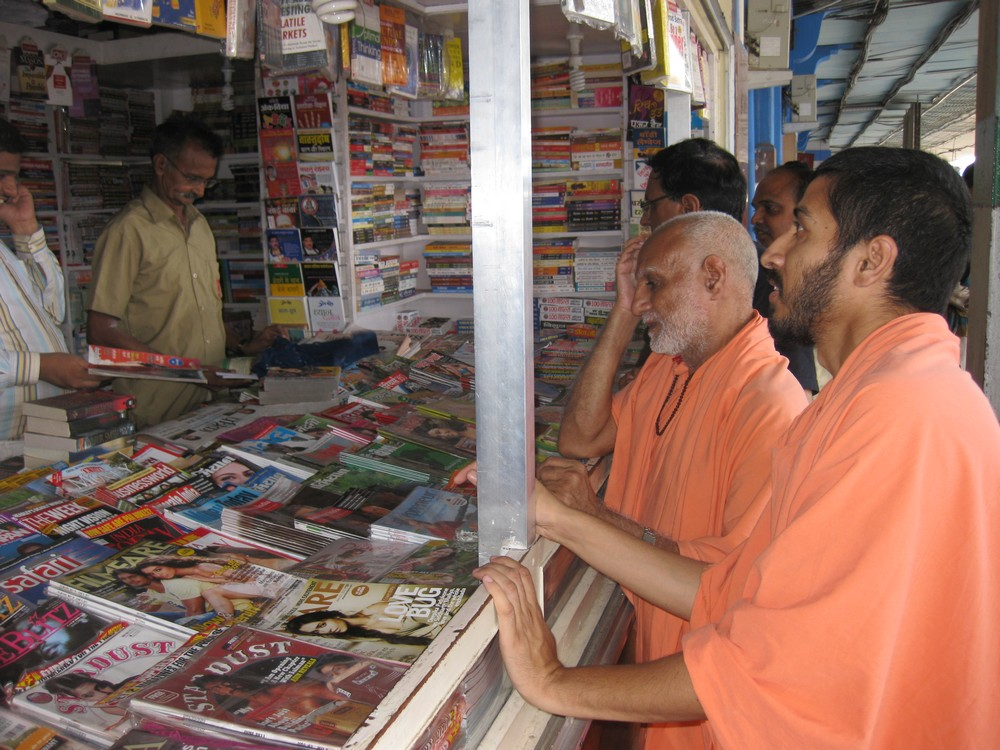 9th June. Afternoon. Vadodra Railway Station. Irresistible books. One thing that Mahraj Ji says he still has greed for - are books.