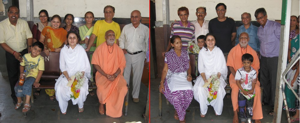 With devotees at Vadodra Railway Station