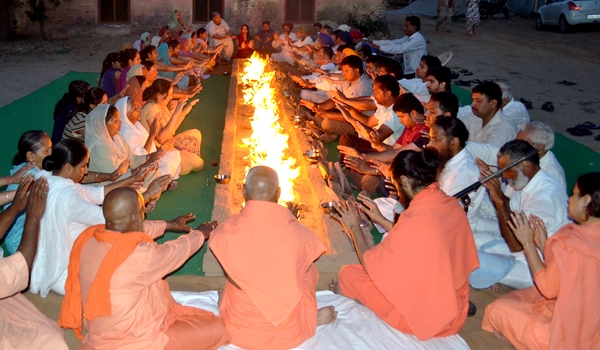 Agni Kriya being performed on the eve of Vaisakhi