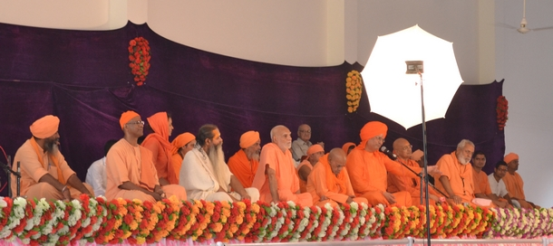 Saints on stage during the inauguration program on October 3. They spoke on various aspects of Sri Yantra practice.