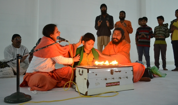 Sadhwiji and Swamiji sharing their love with Shivam on his birthday.