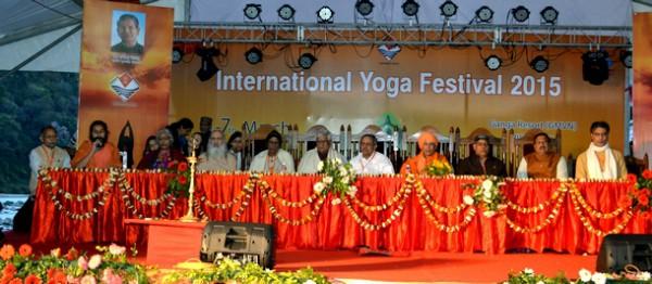 Swami Suryendu Puri Ji speaking during the Inaugural address of the International Yoga Festival, 2015 organized by the Govt. of Uttarakhand, at Rishishesh from March 1-7.