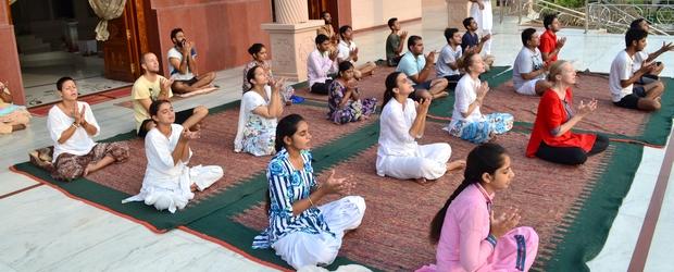 Surya Kriya at the youth camp.